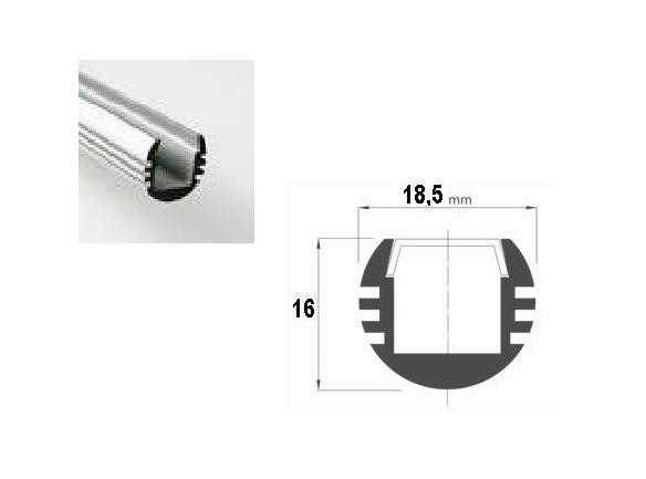 LED Profiel 02 | Rondo | 18,5 x16 mm | Opaal, PC, UV Bestendig |