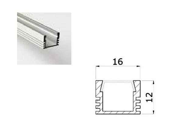 LED Profiel 01 | Standard | 16x12 mm | Opaal, PC, UV Bestendig |