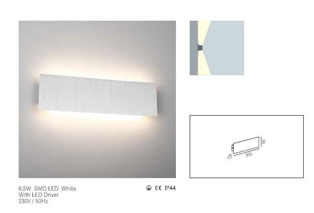 LEDw@re Wandlamp | 6,5 Watt | 27 x  305 x  90 | 220 Lumen | Wall